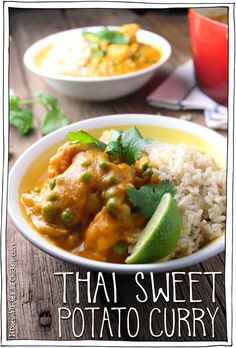 Thai Sweet Potato Curry – it doesn't taste like chicken Thai Sweet Potato Curry. Blend the sweet potatoes with spices, vegetable broth, and coconut milk to make a creamy, silky curry sauce. Vegan Dinner Recipes, Vegan Dinners, Veggie Recipes, Indian Food Recipes, Asian Recipes, Whole Food Recipes, Vegetarian Recipes, Cooking Recipes, Healthy Recipes