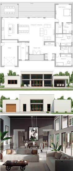 Glass House Design, Modern Small House Design, Modern Villa Design, House Front Design, Modern Floor Plans, Modern House Plans, Small House Plans, House Floor Plans, Architecture Design