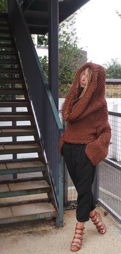 oversized Hooded brown sweater chunky slouchy by ileaiye on Etsy