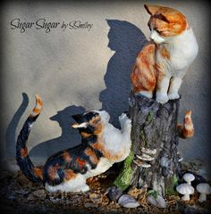 Siblings - Animal Rights Collaboration 2016 This piece is made of modeling chocolate over Rice Krispy Treats with a wire armature. The tree. Teddy Bear Dog, Animal Cakes, Sculpted Cakes, Dog Cakes, Modeling Chocolate, Incredible Edibles, Disney Cakes, Just Cakes, Fondant Figures