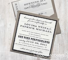 This pocket card is a great way to keep your guests informed- the invitation on the front with a pocket for the details on the back.