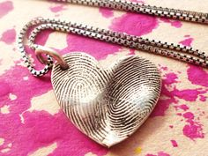 Great Mothers day gift idea, finger print heart necklace.