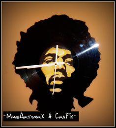 Jimi Hendrix vinyl clock.