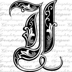 LETTER Initial I Monogram Old ENGRAVING Style Type Text