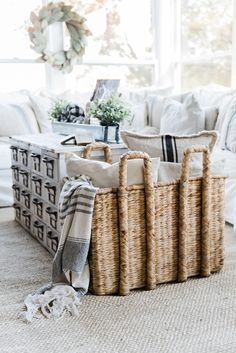 Neutral fall decor - A cozy farmhouse fall sunroom. A must pin for cozy fall…