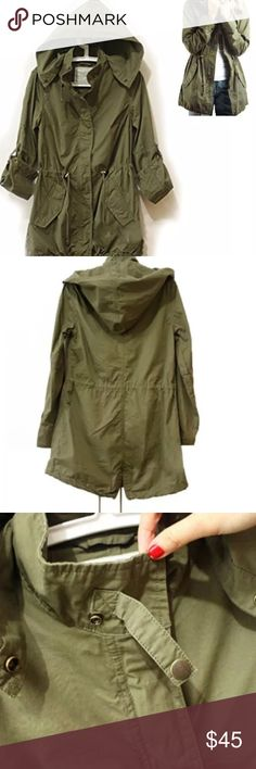 Trendy Military jacket Trendy green military jacket. New look this season  Hooded jacket removable hood Draw-string in the waist and hem Concealed zip Long sleeves with roll tabs Two tilt snap closure  Perfect for the autumn. Comes in s,m,L and xL. Please refer to size chart when ordering Jackets & Coats Utility Jackets