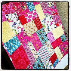 bright random patchwork quilt