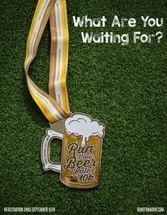 Run now, beer later - what could be better? Get ready to run hard, then crack open a cold one with our latest virtual race! Virtual races are easy, motivating, and most importantly, fun. Just sign up, receive your race packet in the mail, and run, walk, or crawl the 6.2 miles on the course of your choice during our race window, and receive a REAL finisher's medal (featuring a bottle cap opener!) Race will be held September 25-27. Don't miss out, sign up now!