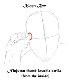 koppo ken , ninjutsu thumb knuckle strike, to soft points such as temple or side between the ribs