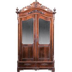 American 1850's Rococo Rosewood Armoire~Outstanding Carvings ~ Magnificent Piece of Fine Antique Furniture
