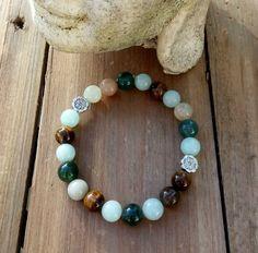 Buy Stretch Gemstone Bracelet 'Cherai' from KUKShades Stretch Bracelets, Beaded Bracelets, Girls Stretching, Green Agate, Beach Accessories, Stretches, Boho Chic, Gemstones, Driftwood