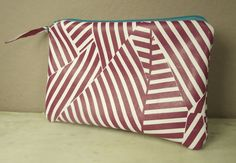 Hampton Peppermint Geometric Leather Zipper Clutch Pouch Purse