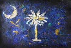 Flag of South Carolina. Hand painted patriotic Art.