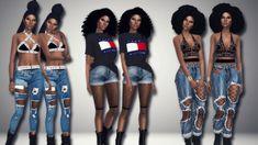 "immortalsims: "" Tommy Girl  1. • Hair [xx] - @voidfeather • Bra/underwear [xx] - @serenityxsims • Jeans [xx] - @jinglestartk • Shoes [xx] - @lumy-sims 2. • Hair [xx] - @blvck-life-simz • Top [xx] - @simsrunway • Shorts [xx] - @savage-sims • Fishnets..."