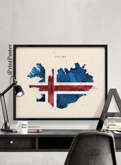 Items similar to Iceland Map Poster Iceland Flag, Map Painting, Flag Art, Watercolor Map, Epson Ink, Flag Decor, Office Art, Frames On Wall, Art Prints