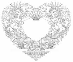 mermaid love from the open heart collection of adult coloring pages by cynthia emerlye