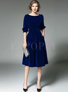 Shop for high quality Blue Lantern Sleeve O-neck Skater Dress online at cheap prices and discover fashion at Ezpopsy.com