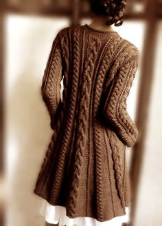 Handknitted Cabled A Line coat jacket sweater in pure wool Chocholate brown by Pilland