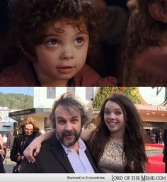 Peter Jackson's daughter played the baby hobbit girl from the first LOTR movie. Now here they are years later at the opening of The Hobbit Lotr Movies, Hobbit Films, O Hobbit, Movie Tv, Movie Memes, Gandalf, Legolas, Aragorn, Jrr Tolkien