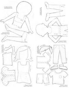 "Fabric ""paper"" dolls"