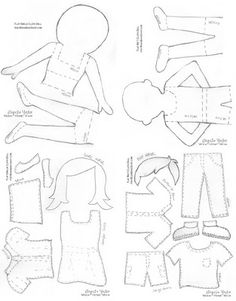 """Paper"" Doll template  Moda Bake Shop: Flat Emelie and Matt"