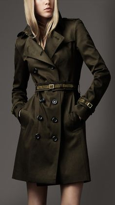 Stretch cotton trench coat with elegant suede belt at waist and cuffs  Burbetty Article 37921621