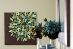 diy flower canvas using paper scraps