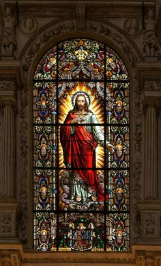 Stained glass window of the Sacred Heart of Jesus ♥ X ღɱɧღ Stained Glass Church, Stained Glass Art, Stained Glass Windows, Mosaic Glass, Jesus Christ Images, Jesus Art, Catholic Art, Religious Art, 3 Chakra