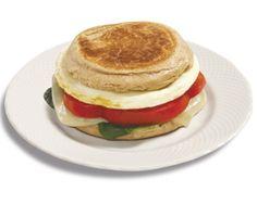 Spinach and Mozzarella Egg White Breakfast Sandwich
