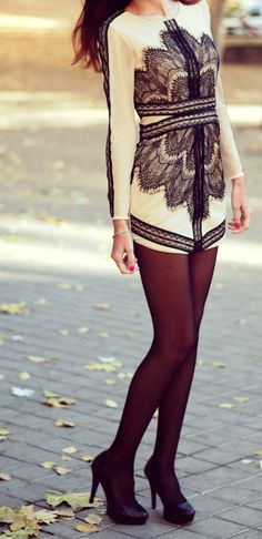 Eyelet lace overlay long sleeve dress with tights and black heels | Classy Evening Look Street Style