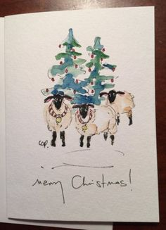 Christmas Ewes Watercolor. Card