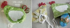 adorable! chicken pouch to hold a chocolate egg! (Includes pattern)