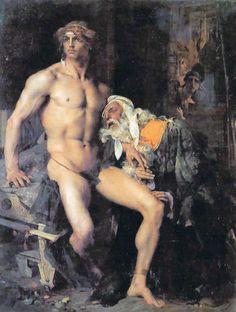 """A reproduction of Jules Bastien LePage's """"Achilles et Priam"""", 1876 (The Iliad)"""