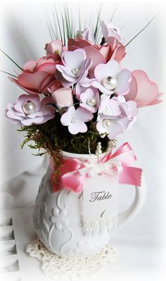 Ohmigosh! I love this and am totally making it!! I think I will put my paper bouquet in a blue Ball jar!