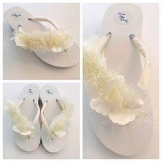 WHITE or Ivory! Wedding Flip Flops/Wedges/Sandals For Bride.Bridal Flip Flops.Lace Flip Flops.Rhinestone Wedding Shoes.Bridal Shoes. by RocktheFlops on Etsy https://www.etsy.com/listing/184719649/white-or-ivory-wedding-flip