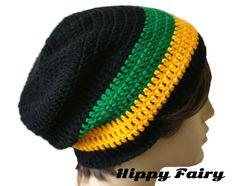 Mens Crochet Rasta hat beanie Rasta hat jamaica flag by HippyFairy