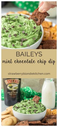 This Baileys Mint Chocolate Chip Dip is perfect for mint chocolate lovers and for when you need a tasty dessert for St. Patrick's Day! | Strawberry Blondie Kitchen