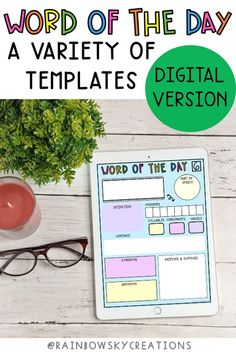 These Digital Word of the Day templates have been designed for you to use with your students to engage them in learning about words, spelling and how words work in the English language. Includes 8 templates to be used with any word and can be used on tablets, computers through Google Classroom or Seesaw. #rainbowskycreations Daily 5 Activities, Spelling Activities, Vocabulary Activities, Learning Resources, Teaching Ideas, Math Classroom, Google Classroom, Classroom Ideas, Digital Word
