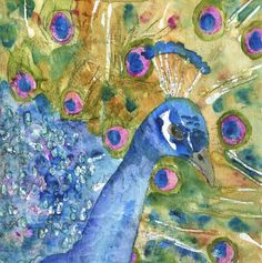 Peacock Party, Watercolor Painting Art by Miriam Schulman, New York