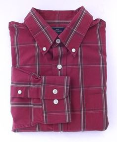 Dockers Shirt Large Plaid Button Down Collar Red Brown Mens Size 16-16 1/2 #DOCKERS #ButtonFront
