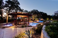 Custom swimming pool design by One Specialty Pools Southlake, TX Backyard Pool Designs, Small Backyard Pools, Swimming Pool Designs, Backyard Landscaping, Backyard Ideas, Outdoor Ideas, Backyard Retreat, Landscaping Ideas, Luxury Swimming Pools