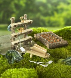 Miniature Fairy Garden Patch, 6-Piece Set | Miniature Fairy Gardens | Fairies will just love the already-planted bed brimming with carrots, the old-fashioned wheelbarrow and the three-shelf plant stand adorned with watering can, flower pot and gardening hat. Plus, the fairies can dig right in with the garden spade, fork and shovel.