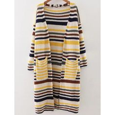 Yellow Striped Drop Shoulder Pocket Long Cardigan (£25) ❤ liked on Polyvore featuring tops, cardigans, embellished tops, striped cardigan, striped top, patterned cardigans and print cardigan