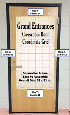 Decorate your classroom door as only a Math teacher can with this gigantic coordinate grid. The Classroom Door Coordinate Grid is a 51 inches long by 28 inches wide coordinate grid printed on 20 sheets of printer paper (5 sheets by 4 sheets). The x-axis allows for values between -12 and +12. The y-axis allows for values between -23 and +24. The Classroom Door Coordinate Grid can easy accommodate any of the coordinate graphing activities found at my store.