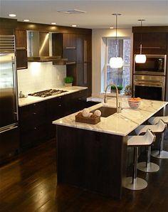 Contemporary Kitchen By Melissa Miranda Interior Design Wood Floor Dark Cabinets