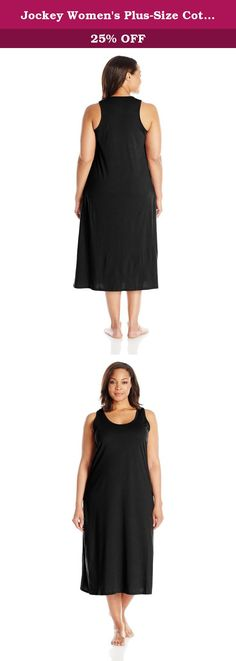 Jockey Women's Plus-Size Cotton Gown, Black, 2X. The Jockey cotton gown is a classic favourite for sleep and lounge.