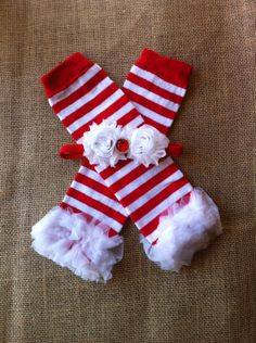 Christmas leg warmers ruffle leggings with shabby by WidowsLove, $10.99