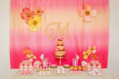 A beautiful Floral and Ombre 4th Birthday for Maggie by Frosted by Nicci | Little Big Company
