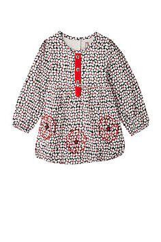 Tunique imprimé fleuri en voile de coton doublée jersey