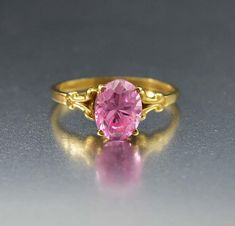 Vintage Pink Topaz Fabulous Estate Gold Ring